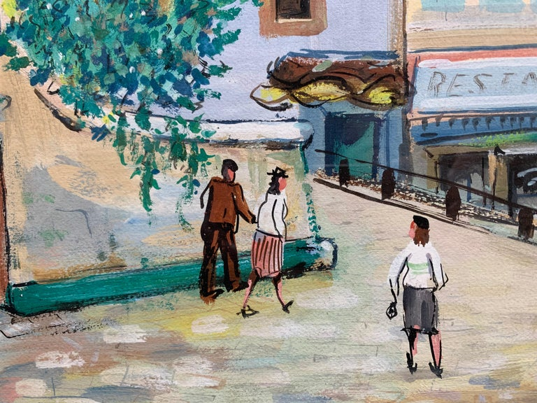Paris (Montmartre Street Scene)  - Brown Landscape Painting by Unknown