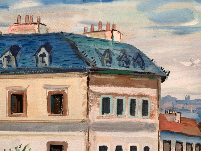 Beautiful Paris street scene signed Jabu. Montmartre, ca. 1950. Gouache on paper mounted to illustration board. Image measures 21 x 29 inches. Original matting and frame. Framed measurement: 31 x 39 inches. Frame displays some scratches and wear