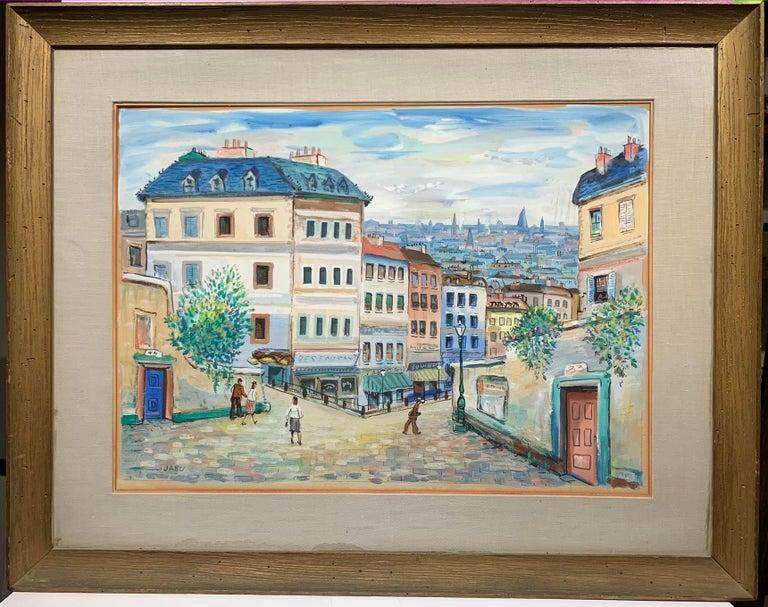 Unknown Landscape Painting - Paris (Montmartre Street Scene)