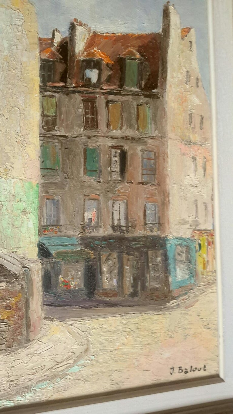 Beautiful oil on panel post-Impressionist style of the 50s representing a view of Paris in the 5th district of Mouffetard. The painting is signed J Baloue at the bottom right. It is accompanied by its old wooden frame. A charming painting executed