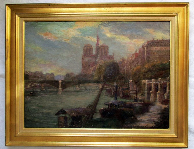 Paris Notre Dame Cathedral and the Seine in Summer evening light  - Painting by Unknown