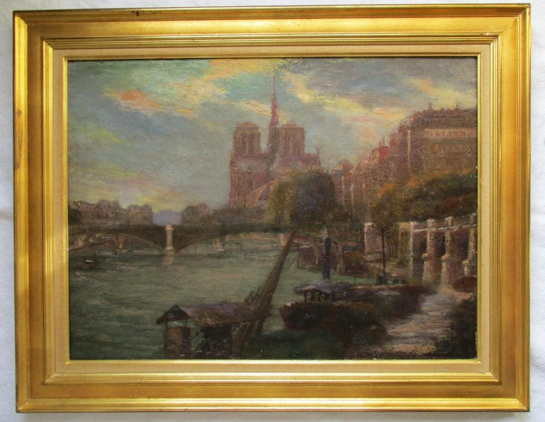 Paris Notre Dame Cathedral and the Seine in Summer evening light  - Impressionist Painting by Unknown