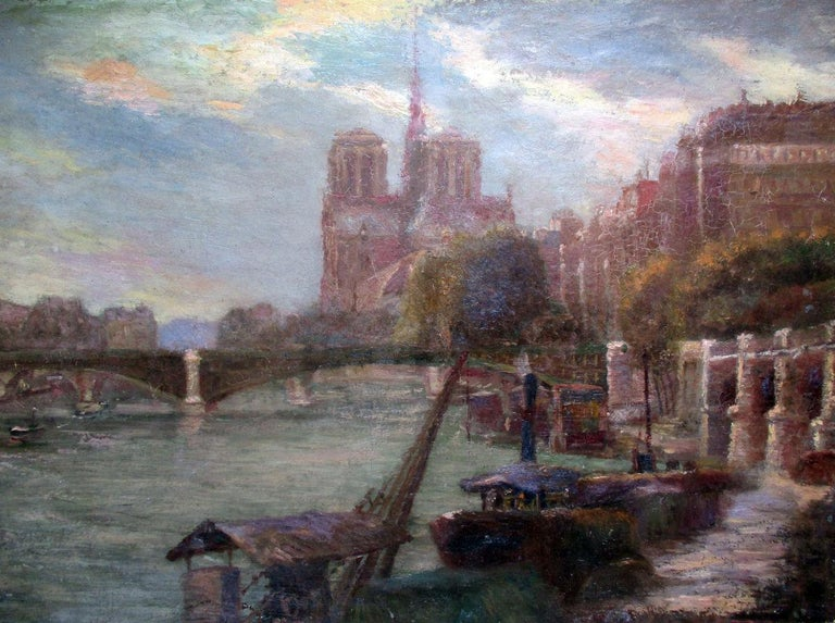Unknown Landscape Painting - Paris Notre Dame Cathedral and the Seine in Summer evening light