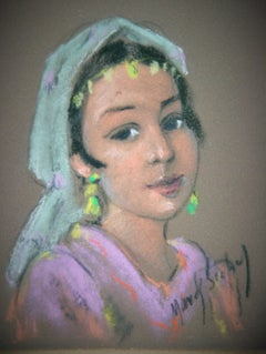 Pastel Portrait of a Young Biblical Woman