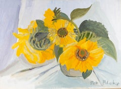 Pat Blake - 20th Century Oil, Still Life of Sunflowers