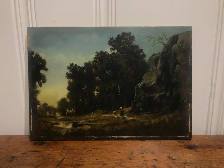 Paysage Par un Ami de Courbet, 19th Century Oil on Board Landscape Painting 2