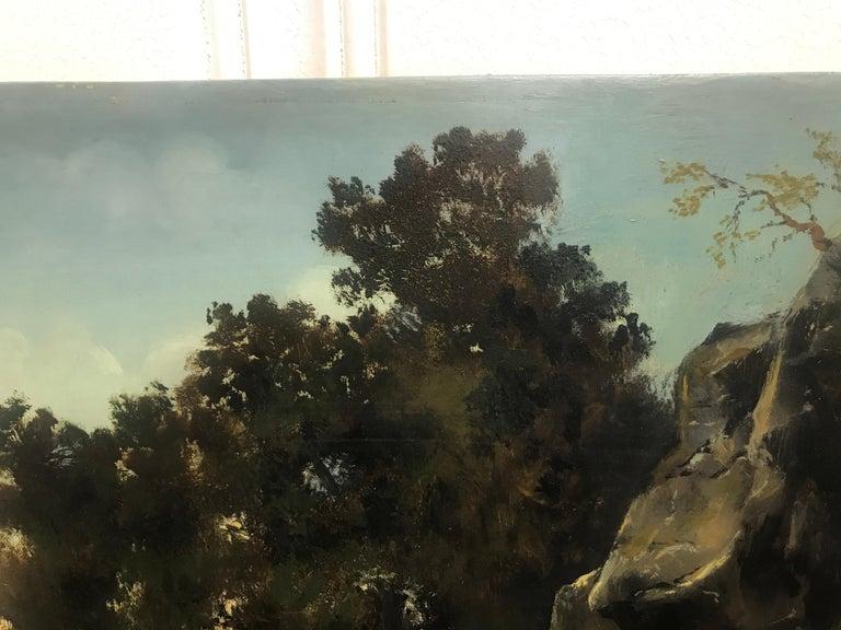 Paysage Par un Ami de Courbet, 19th Century Oil on Board Landscape Painting 8