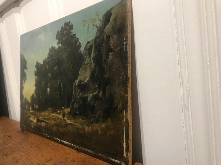 Paysage Par un Ami de Courbet, 19th Century Oil on Board Landscape Painting 9