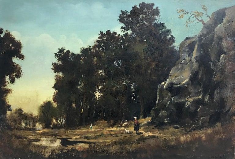 Paysage Par un Ami de Courbet, 19th Century Oil on Board Landscape Painting 1