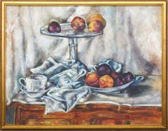 Peaches and Plums Still Life in Style of Paul Cezanne