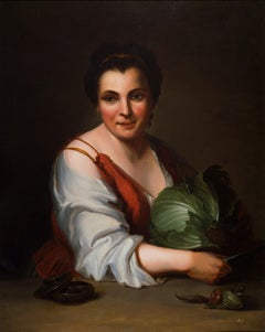 Peasant with Cabbage - Oil on Canvas by French Master 18th Century