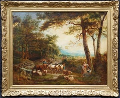 Peasant with Cattle in a Landscape - Italian 18th century pastoral oil painting