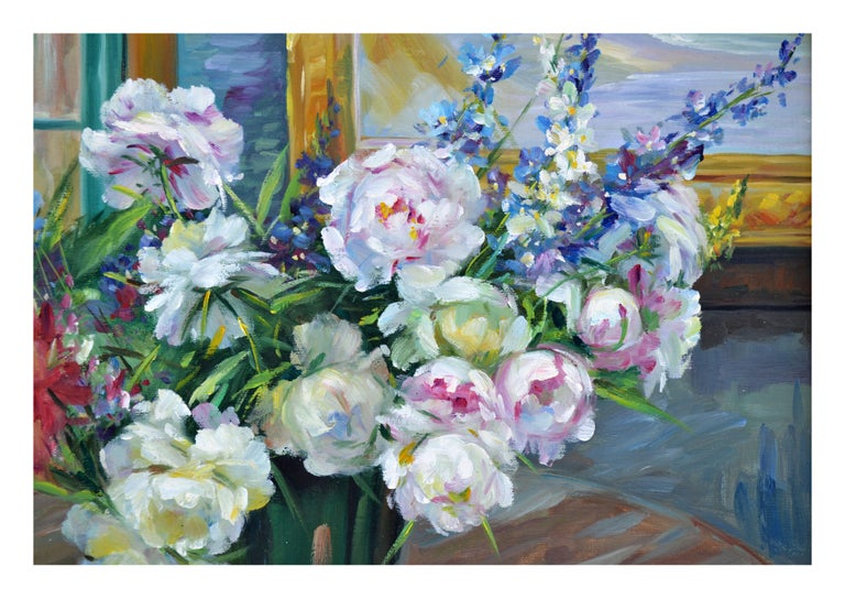 Peony Bouquet Floral Still-Life  - American Impressionist Painting by Unknown