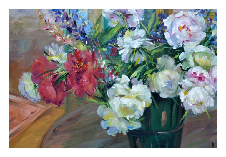 Peony Bouquet Floral Still-Life  - Gray Interior Painting by Unknown