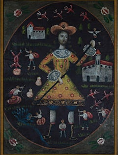 """Peruvian Folk Art Painting,"" Oil on Canvas created in Peru circa 1900"