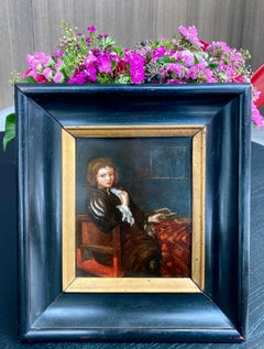 Petite Dutch 17th century portrait of a gentleman - interior genre figurative