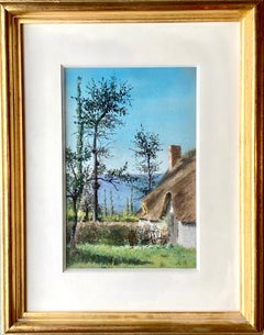 Petite French Framed gouache of a house in the countryside - Barbizon style
