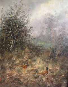 Pheasants In British Countryside, Oil Painting, Signed