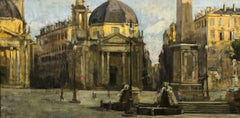 Piazza del Popolo in Rome - 19th Century - Painting - Modern