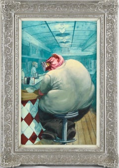 Pigging Out at the Lunch Counter - Surreal Anthropomorphic Pig