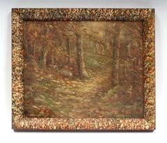 Pointillist Oil Painting Fall Landscape 19th Century, Unique Frame 1900