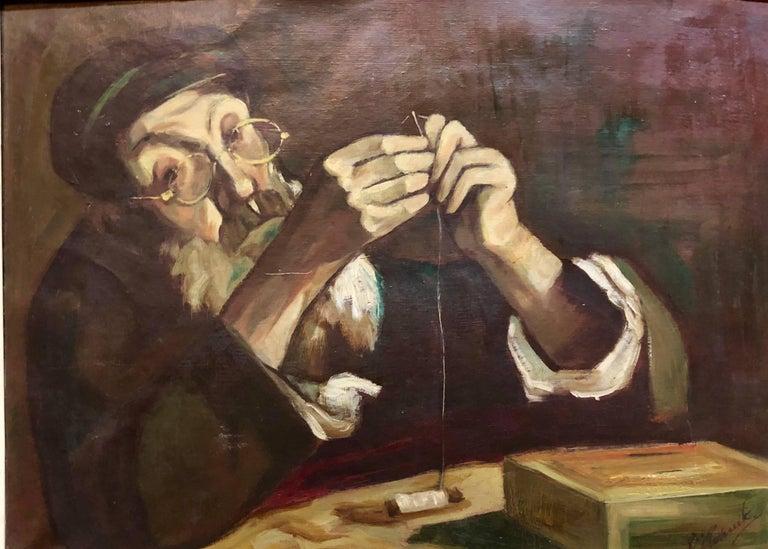 Polish Judaica Portrait of Hasidic Rabbi Shtetl Tailor Oil Painting - Brown Portrait Painting by Unknown