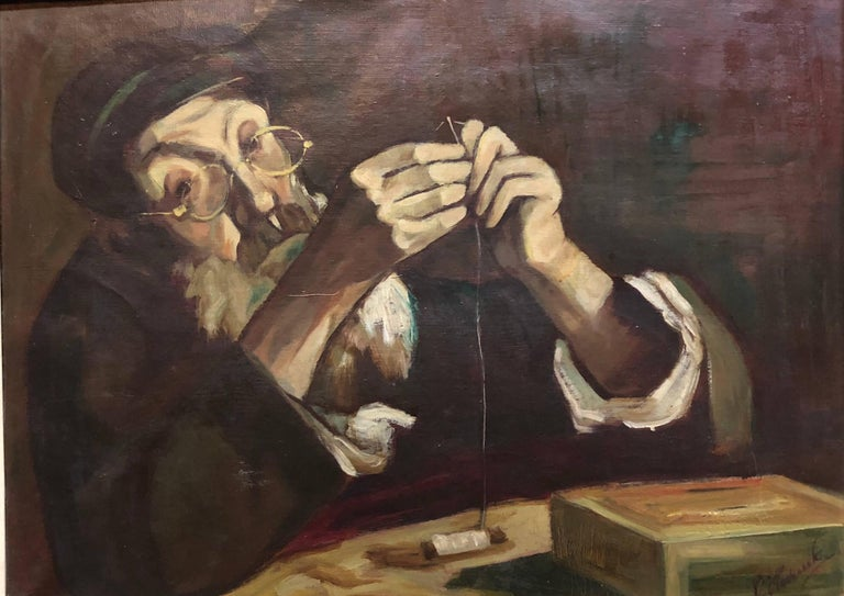 Realistic portrait of an older Jewish shtetl tailor by Polish artist. Here the artist conveys a sense of quiet grandeur through the eyes of his subject and the way it's rendered. Part of a distinguished European lineage of Jewish genre artists who