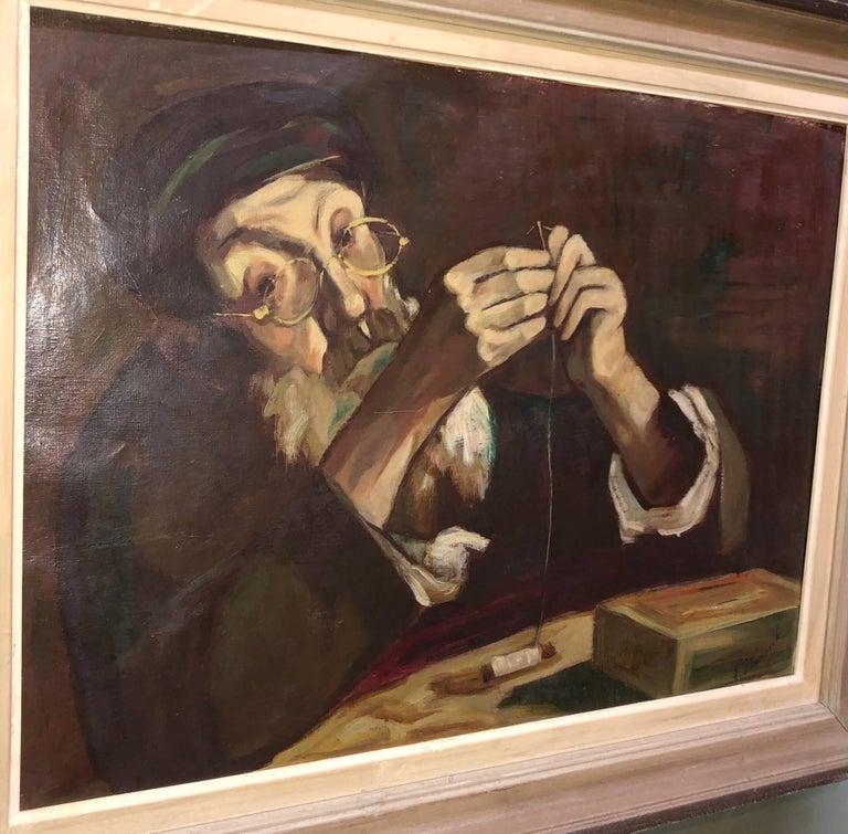 Polish Judaica Portrait of Hasidic Rabbi Shtetl Tailor Oil Painting For Sale 1