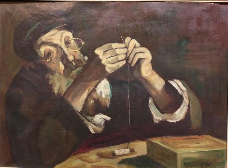 Polish Judaica Portrait of Hasidic Rabbi Shtetl Tailor Oil Painting For Sale 2