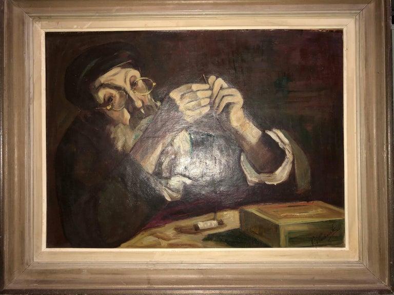 Polish Judaica Portrait of Hasidic Rabbi Shtetl Tailor Oil Painting For Sale 4