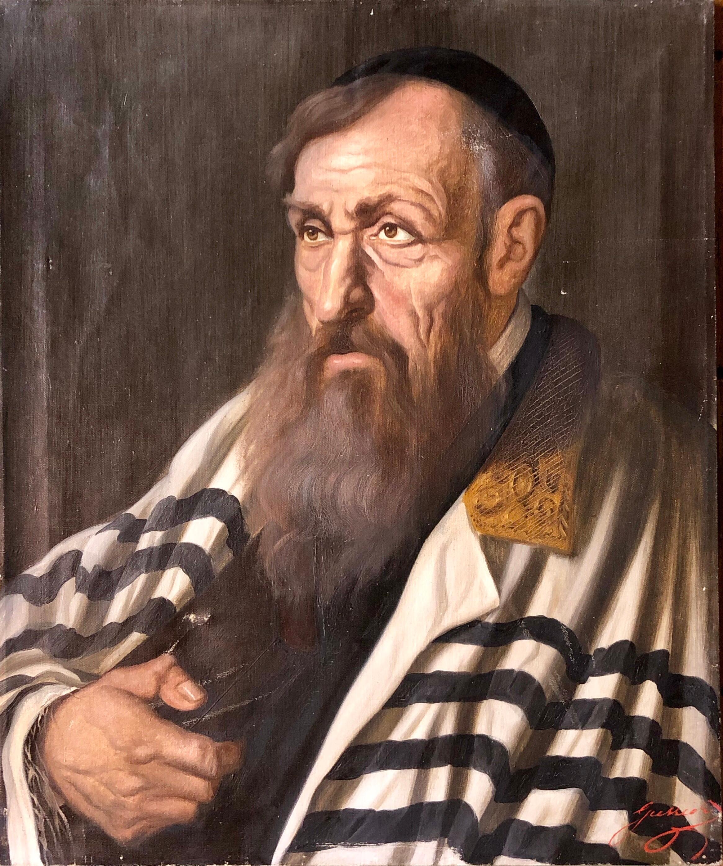 Polish Judaica Portrait of Hasidic Rabbi with Tallit Synagogue Oil Painting