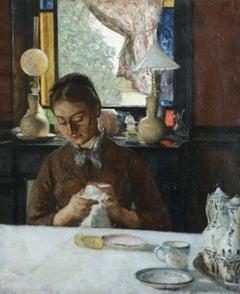 Polishing Glasses- 19th Century Neo-Impressionist School Oil, Figure in Interior