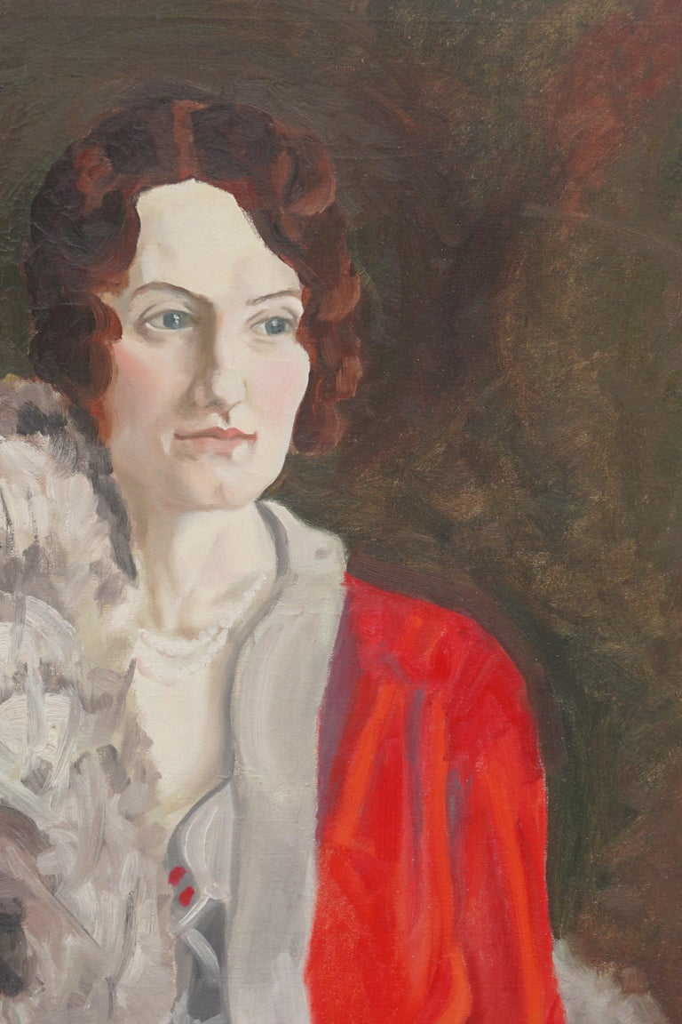 Portrait of 1930s Society Woman - In Style of  Francis Campbell Boileau Cadell - Painting by Unknown