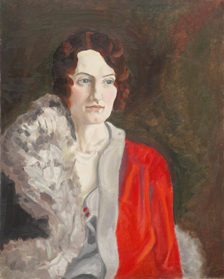 Unknown Figurative Painting - Portrait of 1930s Society Woman - In Style of  Francis Campbell Boileau Cadell