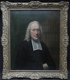 Portrait of a Cleric -British 18thC art Old Master oil painting library interior