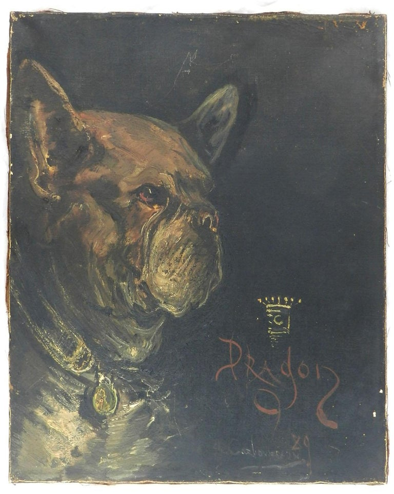 eb9347ff0386 Unknown Animal Painting - Portrait of a Dog called Dragon Oil Painting  signed and dated 1929