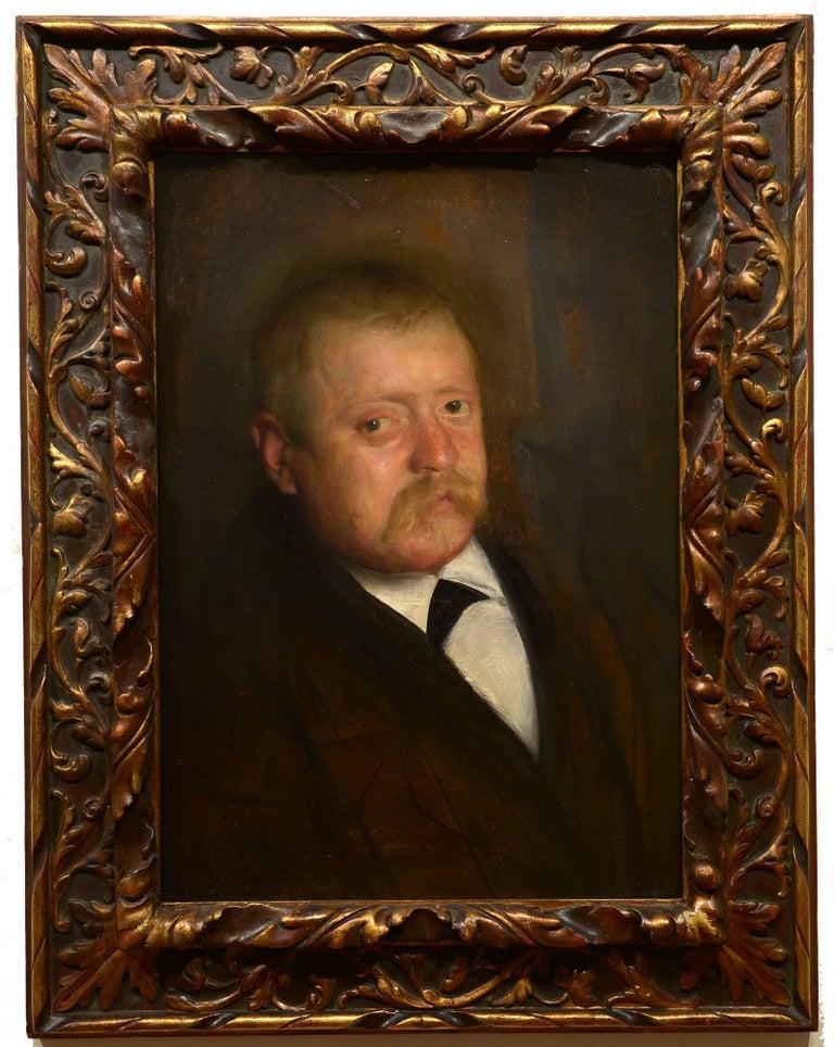 """Unknown Portrait Painting - """"Portrait of a Gentleman,"""" oil, portrait, late 19th c, impressionism"""