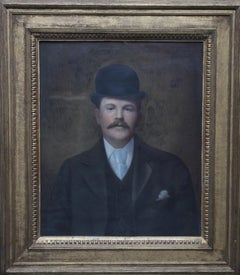 Portrait of a Gentleman in a Bowler Hat - British late 19th century art
