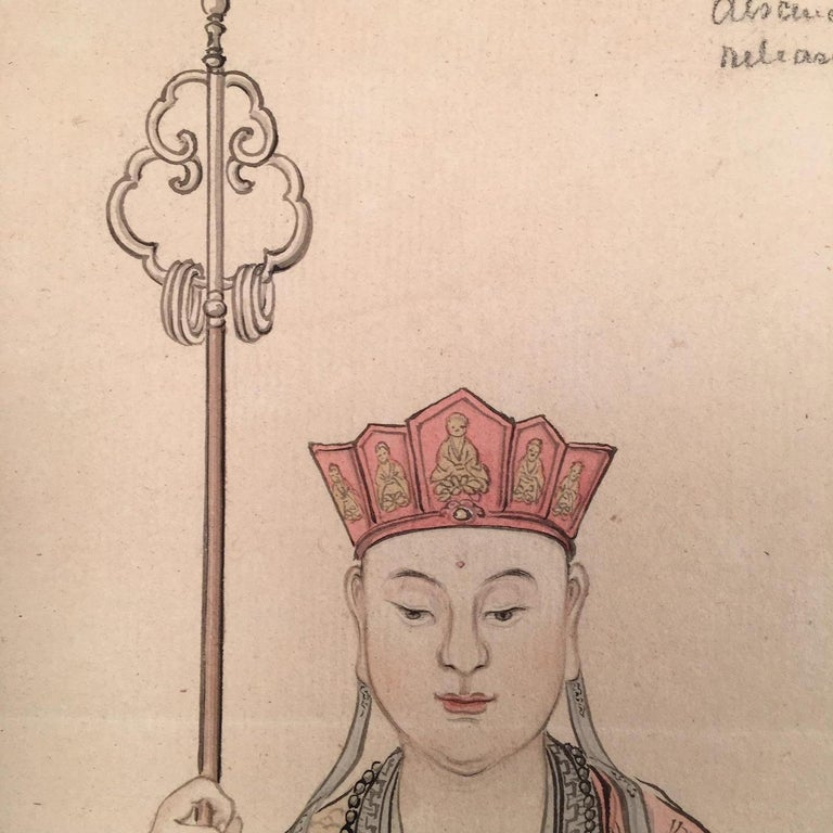 Portrait of a High Ranking Asian Official or Religious Figure - Painting by Unknown