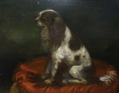 Portrait Of A King Charles Spaniel On A red Cushion, 18th Century
