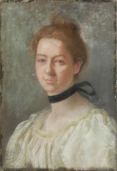 Portrait of a Lady French 19th Century Painting Pastel on Canvas