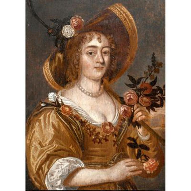 Portrait Of A Lady In Gardening, 17th Century Dutch School - Painting by Unknown