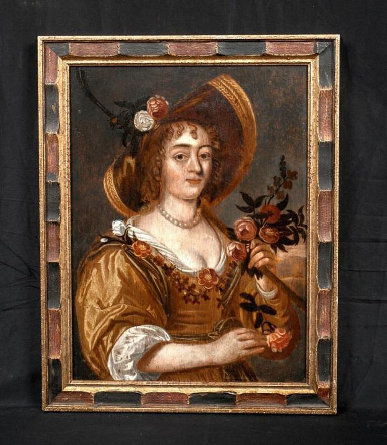 Portrait Of A Lady In Gardening, 17th Century Dutch School - Brown Portrait Painting by Unknown