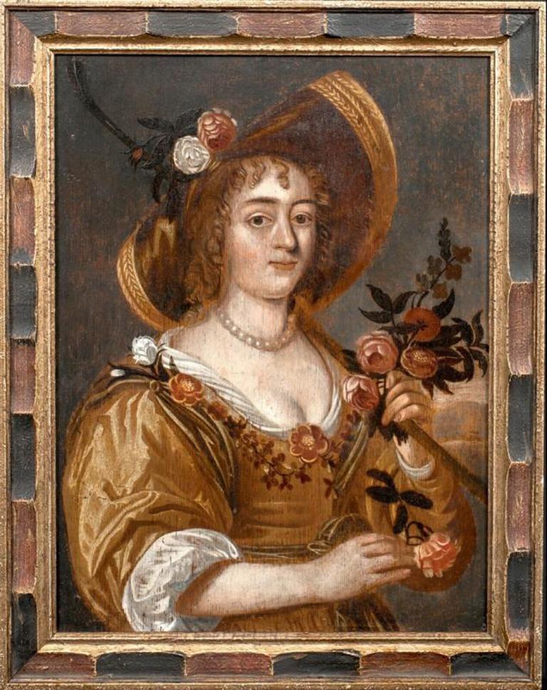Unknown Portrait Painting - Portrait Of A Lady In Gardening, 17th Century Dutch School