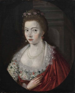 Portrait of a Lady Wearing a Garland of Roses
