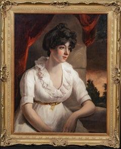 Portrait Of A Lady Wearing A White Dress, Beautiful English School Portrait 1840