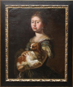 Portrait of a Lady with her Dog - 17th Century art European School oil painting