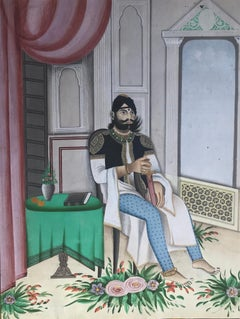 Portrait of a Maharaja - 19th century figurative painting, Indian noble in white