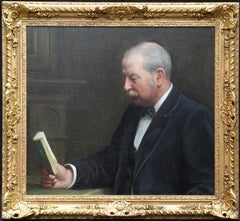 Portrait of a Man Reading in an Interior - British Edwardian art oil painting