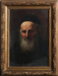 Portrait of a Rabbi, Framed Judaica Oil Painting